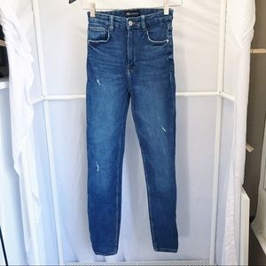 Zara High Rise Ultra Skinny Distressed Jeans Sz 2